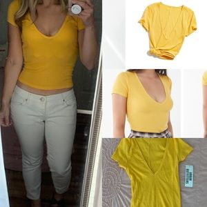 NWT UO deep v neck baby tee cropped yellow
